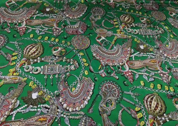 Double Silk Stretch Satin Inkjet 19momme Italian Authentic Designer Fabric Fashion 95% silk 5spandex/Inkjet Jewellery print Fabric 7