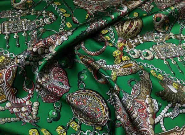 Double Silk Stretch Satin Inkjet 19momme Italian Authentic Designer Fabric Fashion 95% silk 5spandex/Inkjet Jewellery print Fabric 8