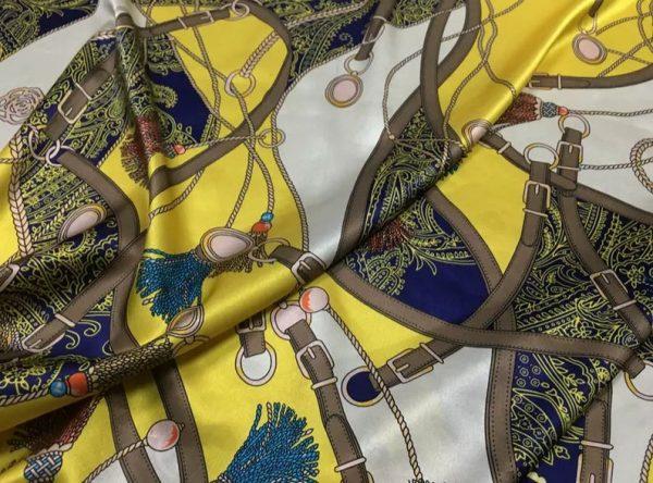 Rare Colour Silk Stretch Inkjet 19momme Italian Authentic Designer Fabric Fashion 95%silk, 5spandex/Inkjet Belt Print Fabric 1