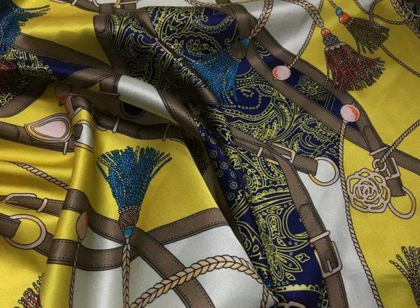 Rare Colour Silk Stretch Inkjet 19momme Italian Authentic Designer Fabric Fashion 95%silk, 5spandex/Inkjet Belt Print Fabric 4