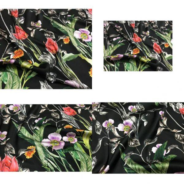 Italian Designer Silk Fabric Floral Pattern Rare Colours Silk Spandex Inkjet 22momme Authentic Fabric Fashion 98%silk, 2spandex/Alta Moda 3 ⋆ Rozitta Rapetti