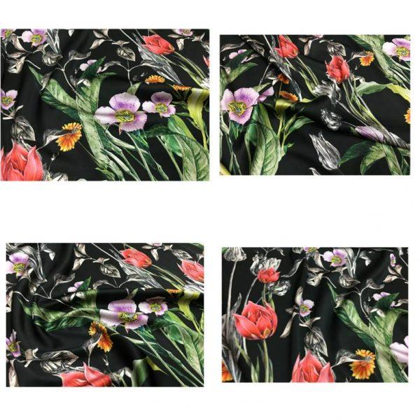 Italian Designer Silk Fabric Floral Pattern Rare Colours Silk Spandex Inkjet 22momme Authentic Fabric Fashion 98%silk, 2spandex/Alta Moda 2 ⋆ Rozitta Rapetti