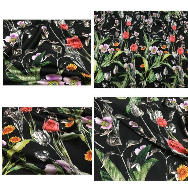 Italian Designer Silk Fabric Floral Pattern Rare Colours Silk Spandex Inkjet 22momme Authentic Fabric Fashion 98%silk, 2spandex/Alta Moda 1 ⋆ Rozitta Rapetti