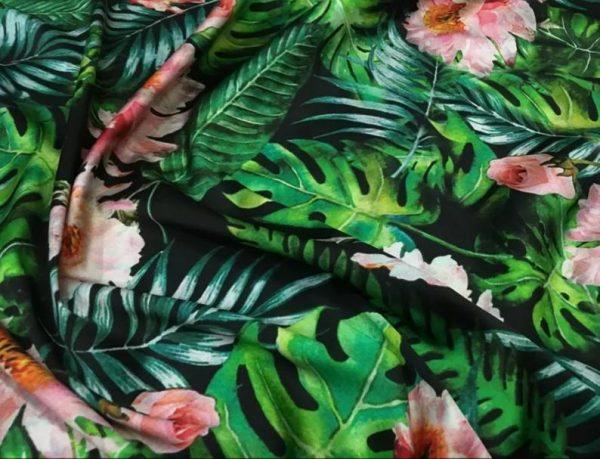 Banana Leaves flowers Italian Designer Silk Fabric Silk Spandex Inkjet 22 momme Authentic Fabric Fashion 95% silk, 5 spandex/Alta Moda 6
