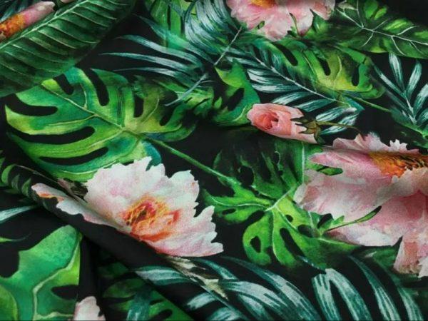 Banana Leaves flowers Italian Designer Silk Fabric Silk Spandex Inkjet 22 momme Authentic Fabric Fashion 95% silk, 5 spandex/Alta Moda 7