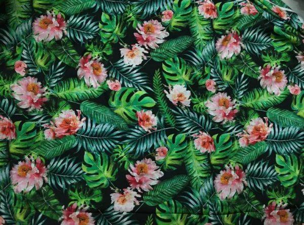 Banana Leaves flowers Italian Designer Silk Fabric Silk Spandex Inkjet 22 momme Authentic Fabric Fashion 95% silk, 5 spandex/Alta Moda 8