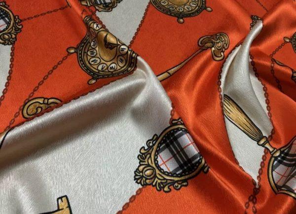 New Rare Silk Stretch Inkjet 19momme Italian Authentic Designer Fabric Fashion 95%silk, 5spandex/Inkjet Belt Print Fabric 5