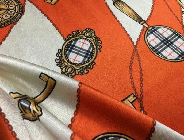New Rare Silk Stretch Inkjet 19momme Italian Authentic Designer Fabric Fashion 95%silk, 5spandex/Inkjet Belt Print Fabric 6