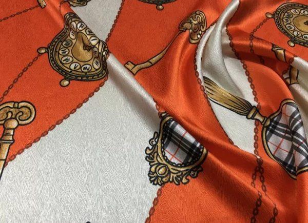 New Rare Silk Stretch Inkjet 19momme Italian Authentic Designer Fabric Fashion 95%silk, 5spandex/Inkjet Belt Print Fabric 7