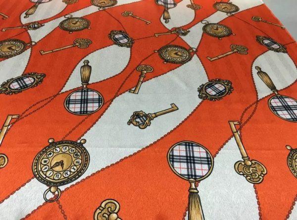 New Rare Silk Stretch Inkjet 19momme Italian Authentic Designer Fabric Fashion 95%silk, 5spandex/Inkjet Belt Print Fabric 8