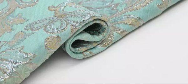 New!Italian Designer Blue Gold Thread Jaquard Fabric Yarn Dyed Cotton/Designer Brocade Jacquard Fabric floral pattern/Exclusive Fabric 3