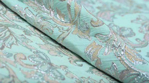 New!Italian Designer Blue Gold Thread Jaquard Fabric Yarn Dyed Cotton/Designer Brocade Jacquard Fabric floral pattern/Exclusive Fabric 4