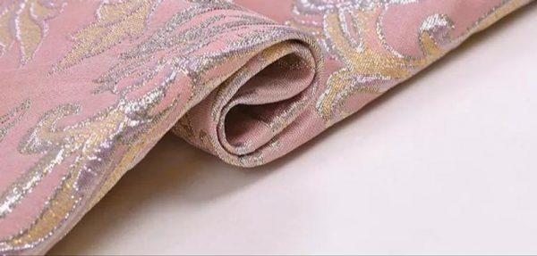 New!Italian Designer Pink#2 Gold Thread Jaquard Fabric Yarn Dyed Cotton/Designer Brocade Jacquard Fabric floral pattern/Exclusive Fabric 3