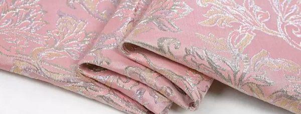 New!Italian Designer Pink#2 Gold Thread Jaquard Fabric Yarn Dyed Cotton/Designer Brocade Jacquard Fabric floral pattern/Exclusive Fabric 4