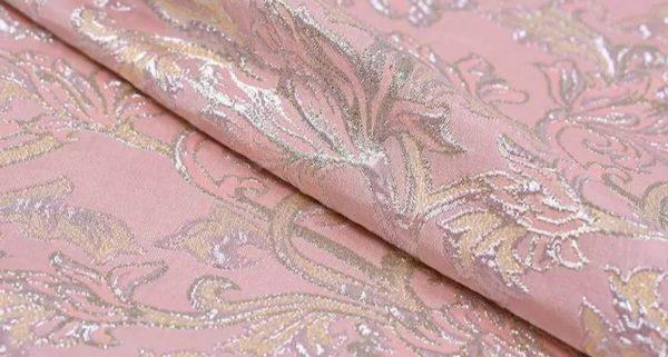 New!Italian Designer Pink#2 Gold Thread Jaquard Fabric Yarn Dyed Cotton/Designer Brocade Jacquard Fabric floral pattern/Exclusive Fabric 5