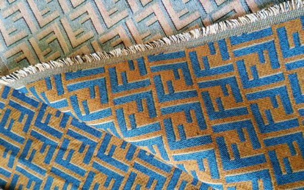 Fendi Jacquard Fabric Clothing and Upholstery 30%Cotton 70 Polyester 340gr width 145cm/BLUE letter Print Fendi Brocade Fabric Varies Colours 3 ⋆ Rozitta Rapetti