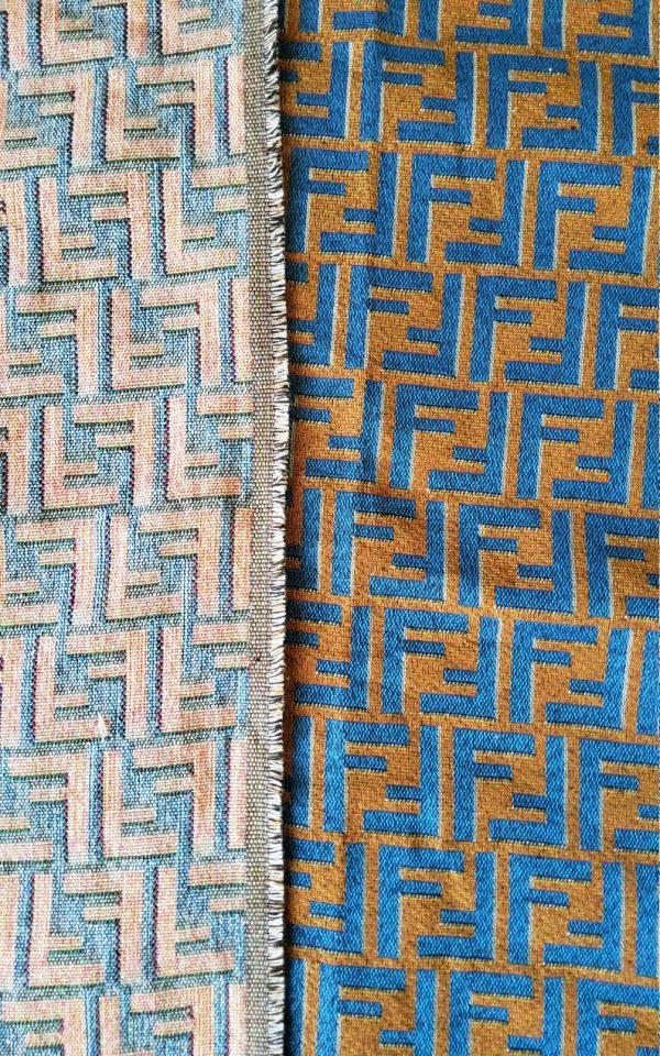 Fendi Jacquard Fabric Clothing and Upholstery 30%Cotton 70 Polyester 340gr width 145cm/BLUE letter Print Fendi Brocade Fabric Varies Colours 4 ⋆ Rozitta Rapetti