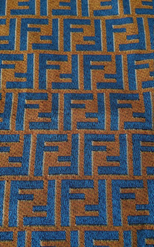 Fendi Jacquard Fabric Clothing and Upholstery 30%Cotton 70 Polyester 340gr width 145cm/BLUE letter Print Fendi Brocade Fabric Varies Colours 5 ⋆ Rozitta Rapetti
