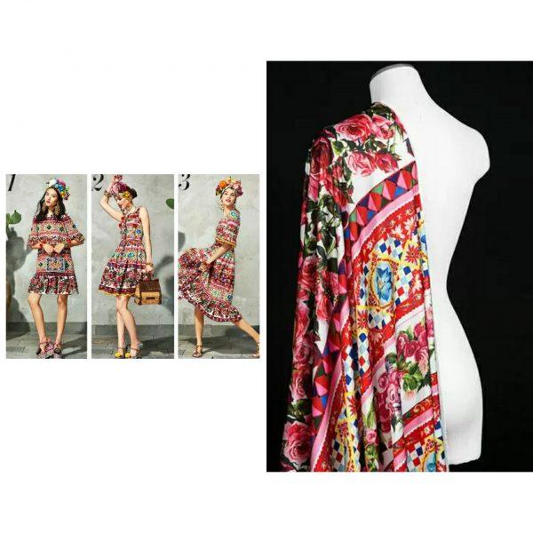 20200103 005329777 Majolica Silk Fabric/Sicily Show Italian Designer Silk Fabric/Majolica Print Italian Silk Fabric 1