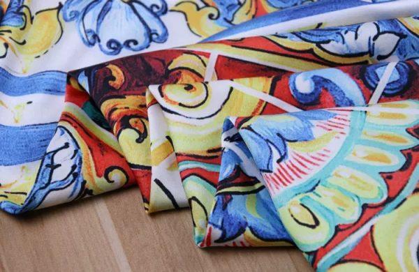 20200103 011458 Sicily Show Fabric/Italian Designer Silk Polyester Fabric/Majolica Print Fabric 9