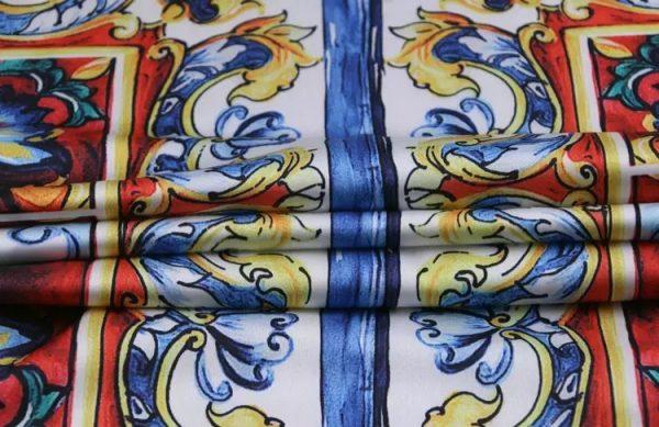20200103 011505 Sicily Show Fabric/Italian Designer Silk Polyester Fabric/Majolica Print Fabric 10