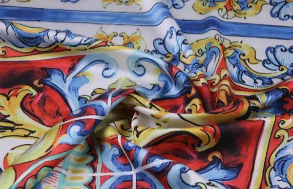 20200103 011529 Sicily Show Fabric/Italian Designer Silk Polyester Fabric/Majolica Print Fabric 7