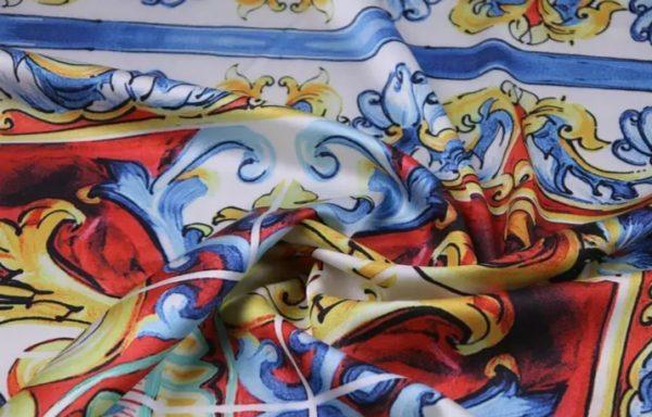 20200103 011540 Sicily Show Fabric/Italian Designer Silk Polyester Fabric/Majolica Print Fabric 6