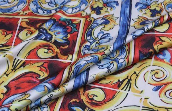 20200103 011550 Sicily Show Fabric/Italian Designer Silk Polyester Fabric/Majolica Print Fabric 5