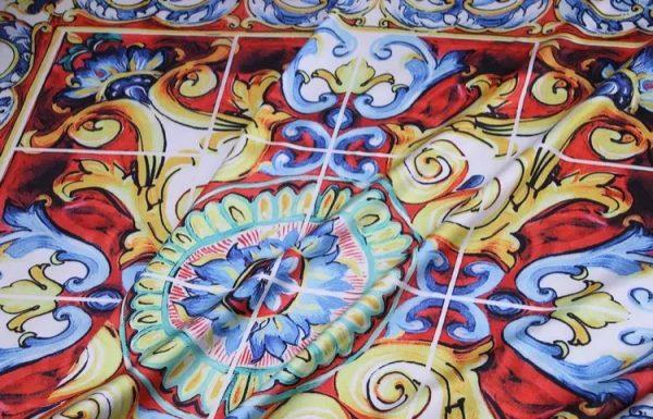 20200103 011558 Sicily Show Fabric/Italian Designer Silk Polyester Fabric/Majolica Print Fabric 4