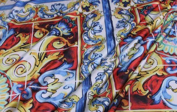 20200103 011607 Sicily Show Fabric/Italian Designer Silk Polyester Fabric/Majolica Print Fabric 3