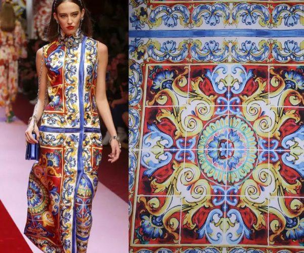 20200103 011630 Sicily Show Fabric/Italian Designer Silk Polyester Fabric/Majolica Print Fabric 1