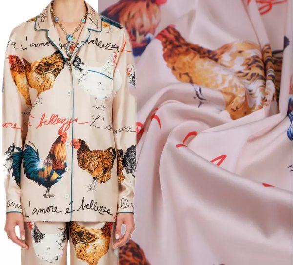 20200103 013025 Hen Print Fabric/Haute Couture Italian Fabric/Hens and Cockerel print Silk Imitation Fabric 2
