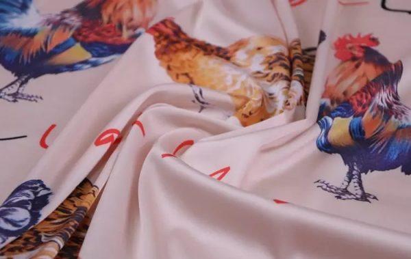 20200103 013102 Hen Print Fabric/Haute Couture Italian Fabric/Hens and Cockerel print Silk Imitation Fabric 11