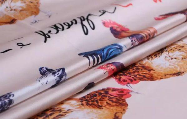 20200103 013113 Hen Print Fabric/Haute Couture Italian Fabric/Hens and Cockerel print Silk Imitation Fabric 10