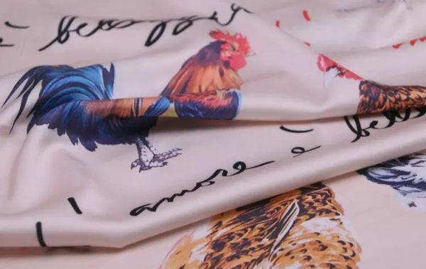 20200103 013121 Hen Print Fabric/Haute Couture Italian Fabric/Hens and Cockerel print Silk Imitation Fabric 9