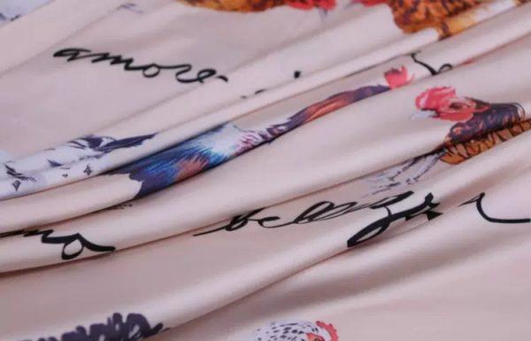 20200103 013129 Hen Print Fabric/Haute Couture Italian Fabric/Hens and Cockerel print Silk Imitation Fabric 8