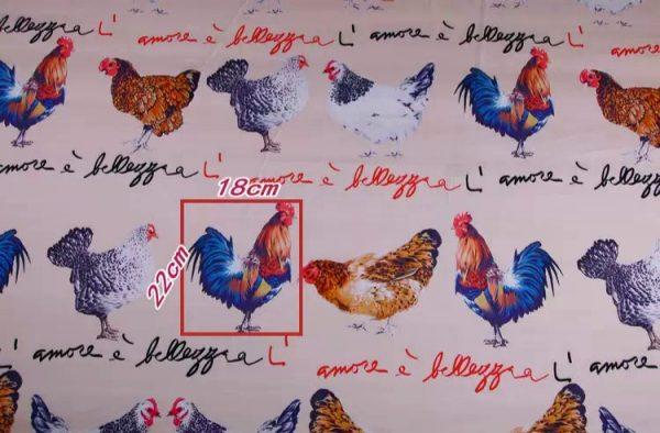 20200103 013157 Hen Print Fabric/Haute Couture Italian Fabric/Hens and Cockerel print Silk Imitation Fabric 6