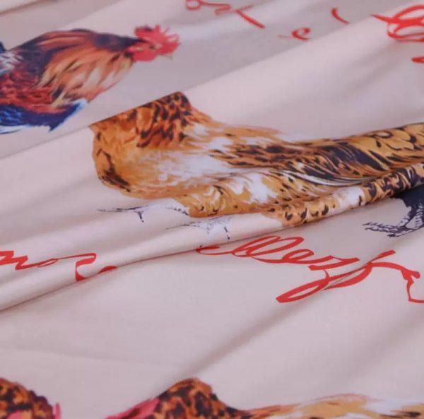20200103 013234 Hen Print Fabric/Haute Couture Italian Fabric/Hens and Cockerel print Silk Imitation Fabric 5
