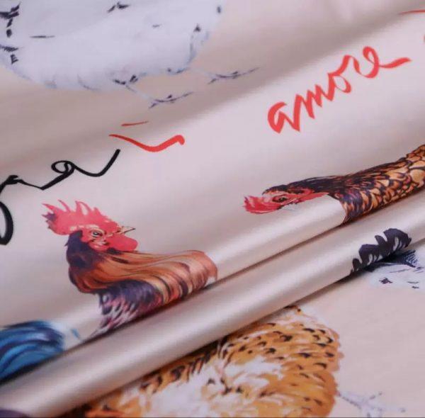 20200103 013245 Hen Print Fabric/Haute Couture Italian Fabric/Hens and Cockerel print Silk Imitation Fabric 4