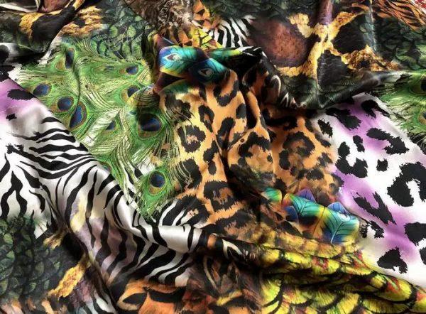 20200103 020823 Roberto Cavalli Silk Fabric/Leopard print Peacock Print Fabric/Italian Designer Silk Fabric 3