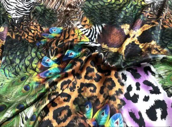 20200103 020842 Roberto Cavalli Silk Fabric/Leopard print Peacock Print Fabric/Italian Designer Silk Fabric 2