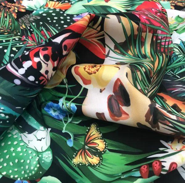 20200118 142510 Designer Jungle Print fabric Polyester/Italian Designer Fabrics/2020 collection fabric/Italian Designer Fabrics 2