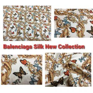 Balenciaga Silk Fabric Inkjet 20momme in 2 colours,White Italian Designer Fabric Fashion 95%silk,5spandex/ 106cm wide,Baroque and butterfly