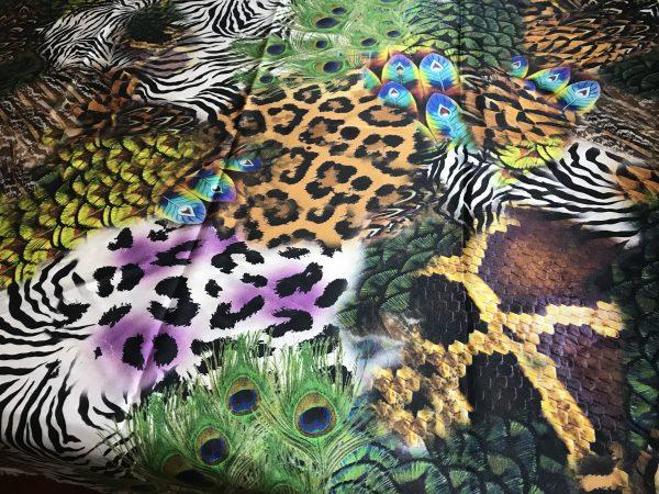 IMG 6119 scaled Roberto Cavalli Silk Fabric/Leopard print Peacock Print Fabric/Italian Designer Silk Fabric 4