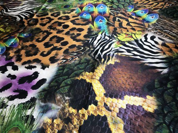 IMG 6120 scaled Roberto Cavalli Silk Fabric/Leopard print Peacock Print Fabric/Italian Designer Silk Fabric 5