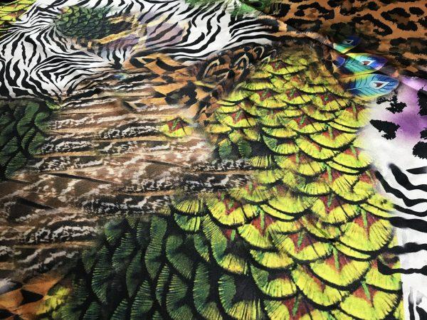 IMG 6121 scaled Roberto Cavalli Silk Fabric/Leopard print Peacock Print Fabric/Italian Designer Silk Fabric 6