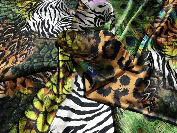 IMG 6122 scaled Roberto Cavalli Silk Fabric/Leopard print Peacock Print Fabric/Italian Designer Silk Fabric 7