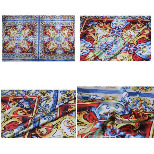 PhotoCollage 20200103 011839213 Sicily Show Fabric/Italian Designer Silk Polyester Fabric/Majolica Print Fabric 2