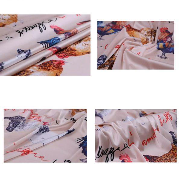 PhotoCollage 20200103 013359001 Hen Print Fabric/Haute Couture Italian Fabric/Hens and Cockerel print Silk Imitation Fabric 3