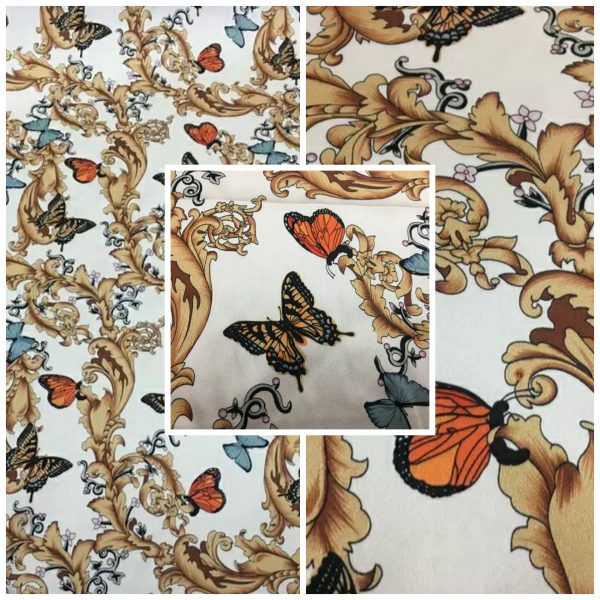 PhotoCollage 20200320 011103526 Balenciaga Silk Fabric Inkjet 20momme in 2 colours,White Italian Designer Fabric Fashion 95%silk,5spandex/ 106cm wide,Baroque and butterfly 1